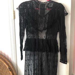 Vintage 1970s Victorian Midi Dress S/M Cotton